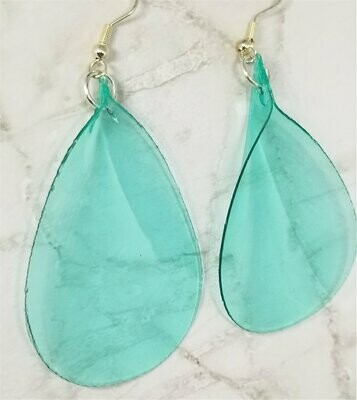 Turquoise Colored Flower Petals Dangle Earrings