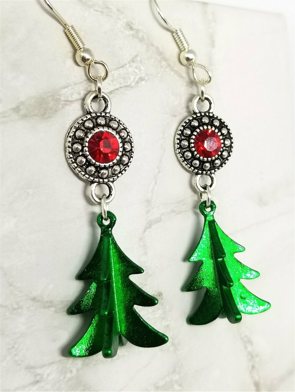 Green Metal Christmas Tree Charm Earrings with Red Crystal Charms