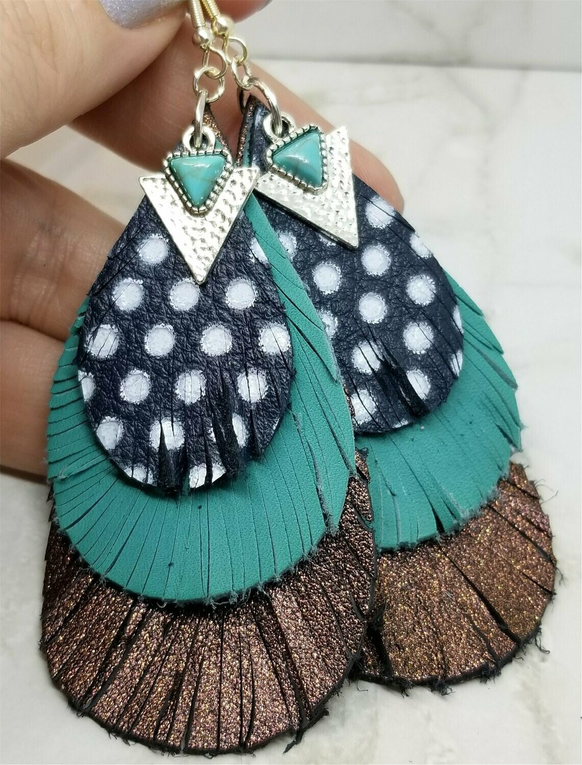 Layered Real Leather Fringed Earrings