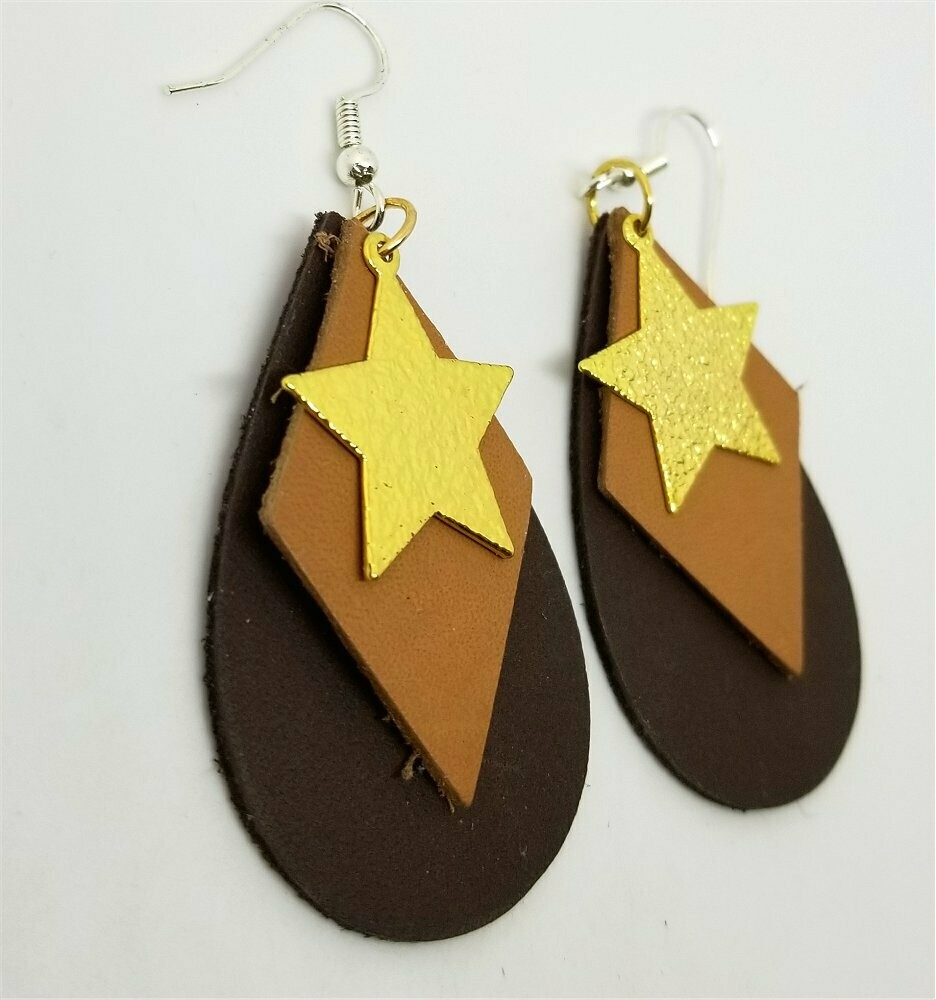 Layered Teardrop Brown and Tan Real Leather Earrings with Gold Star Charms