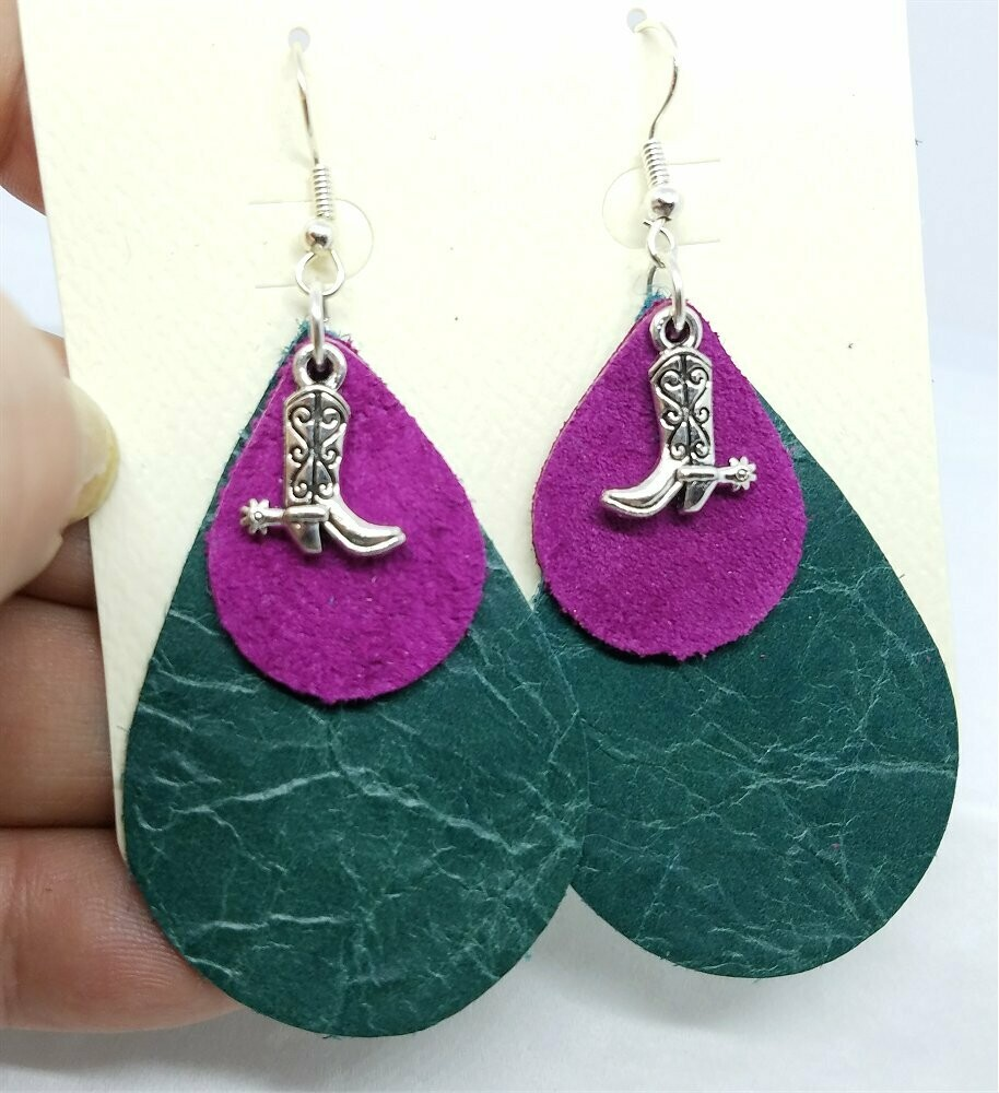 Layered Teardrop Leather Earrings with Cowboy Boot Charms