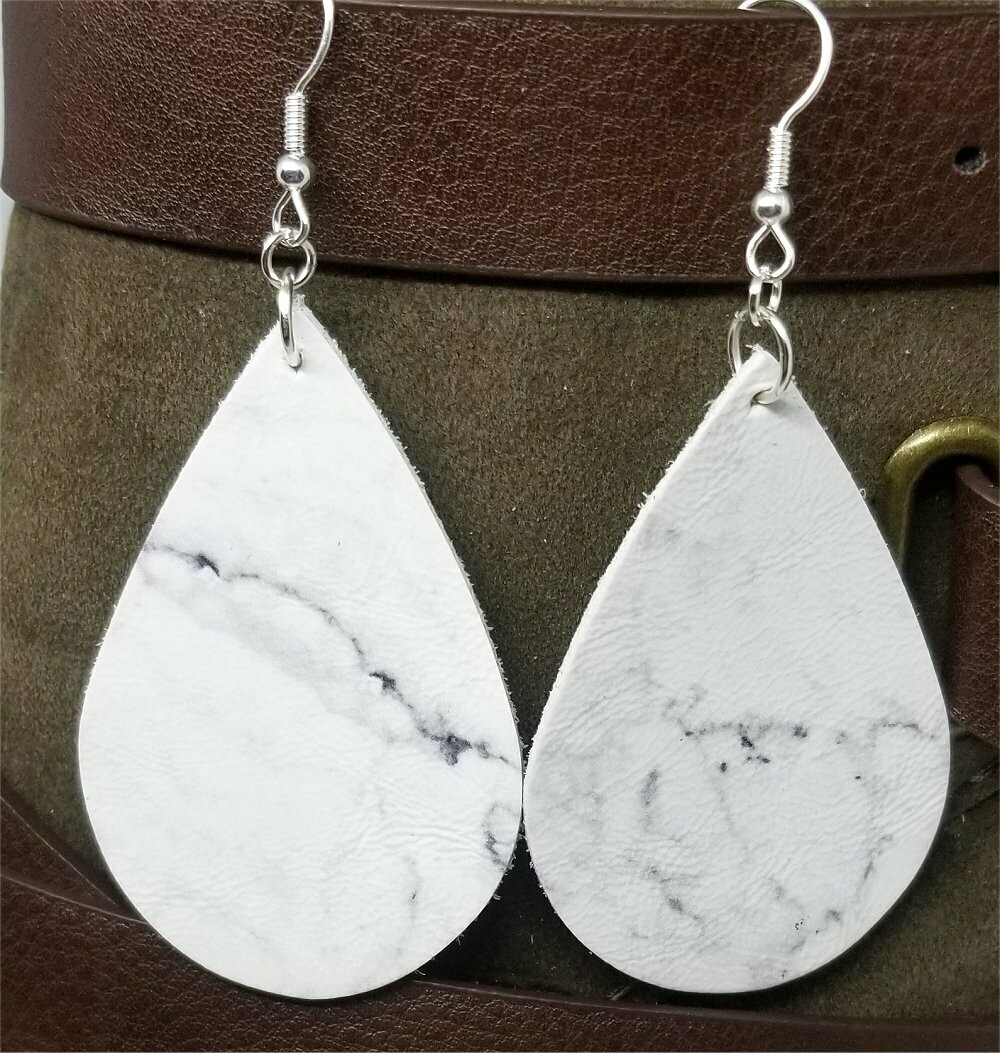Marble Effect Tear Drop Shaped Real Leather Earrings