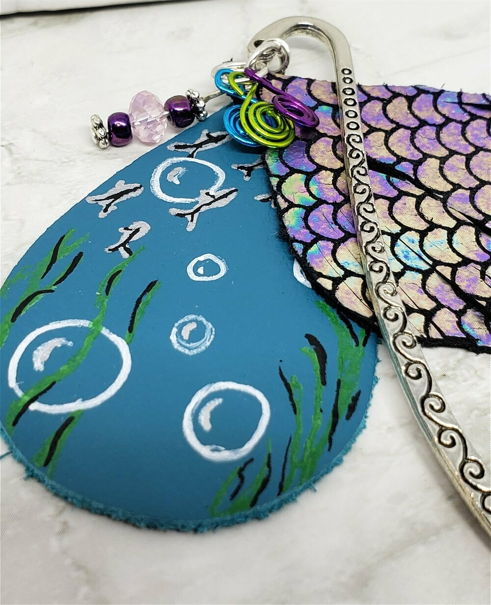 Mermaid Bookmark with Leather, Glass Beads, and Colored Metal Swirls