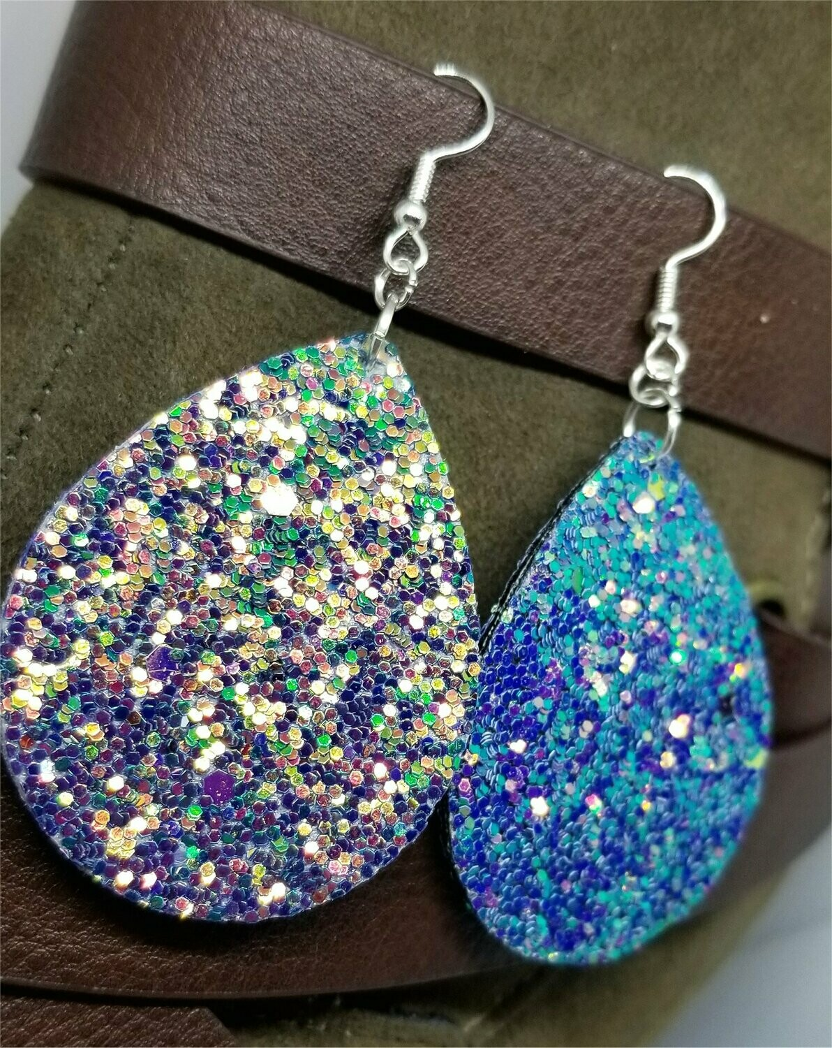 Mermaid Color Shifting Glitter Very Sparkly Double Sided FAUX Leather Teardrop Earrings