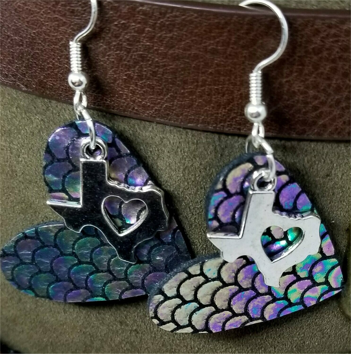 Mermaid Scales Leather Heart Earrings with Silver Texas Charms with Heart Cutouts