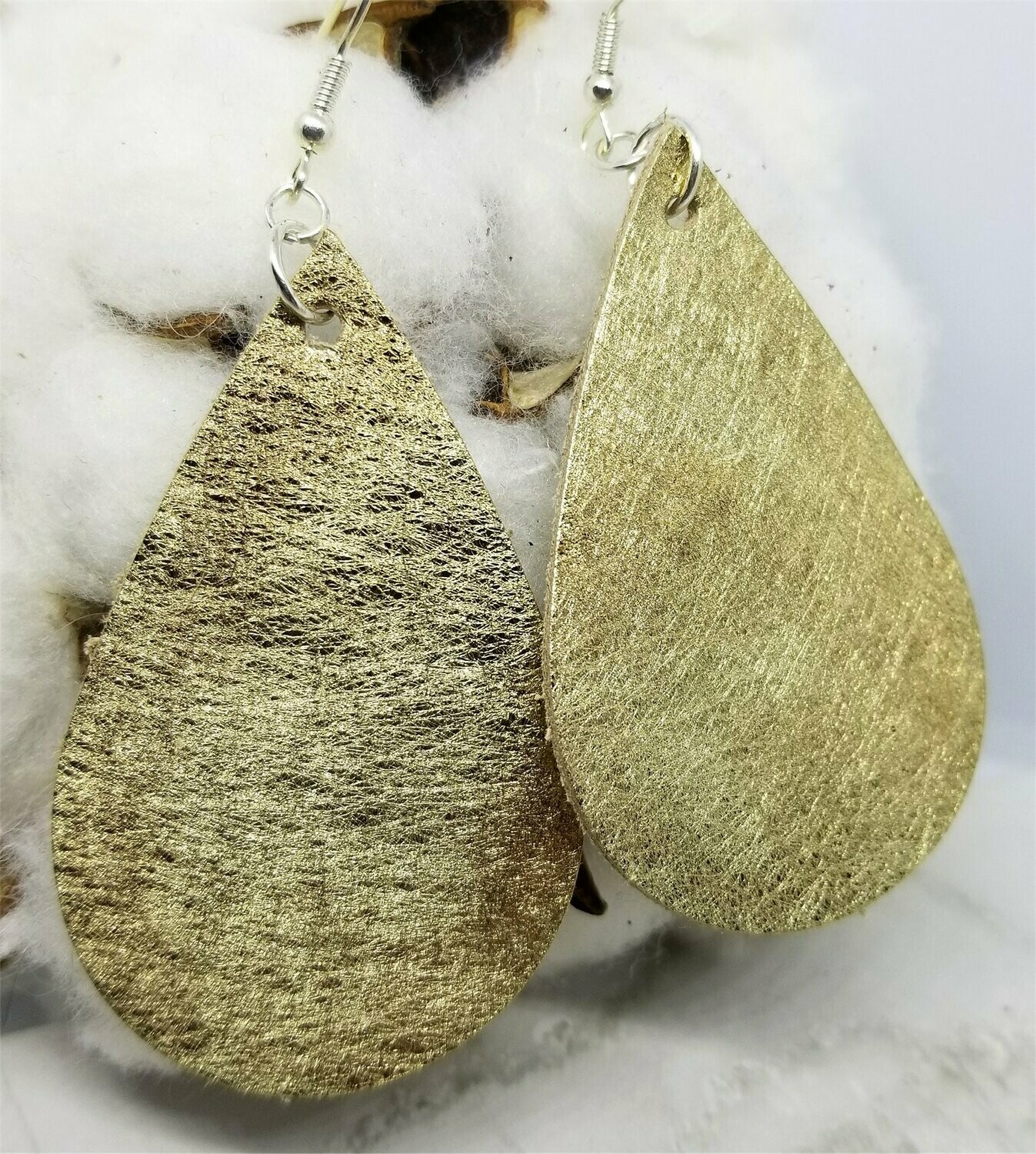Metallic Brushed Gold Finished Tear Drop Shaped Real Leather Earrings