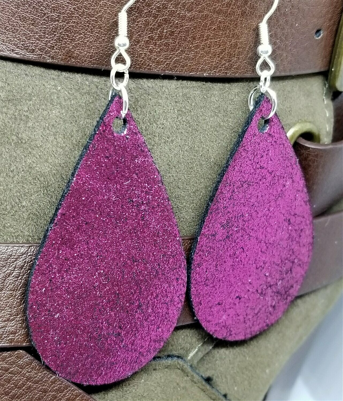 Metallic Fuchsia Tear Drop Shaped Real Leather Earrings