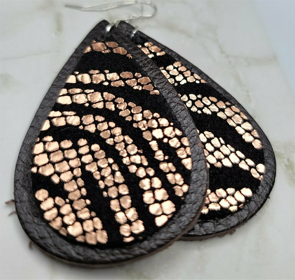Expresso Brown Leather Teardrops with Black Suede and Metallic Gold Zebra Patterned Real Leather Teardrop Overlay Earrings