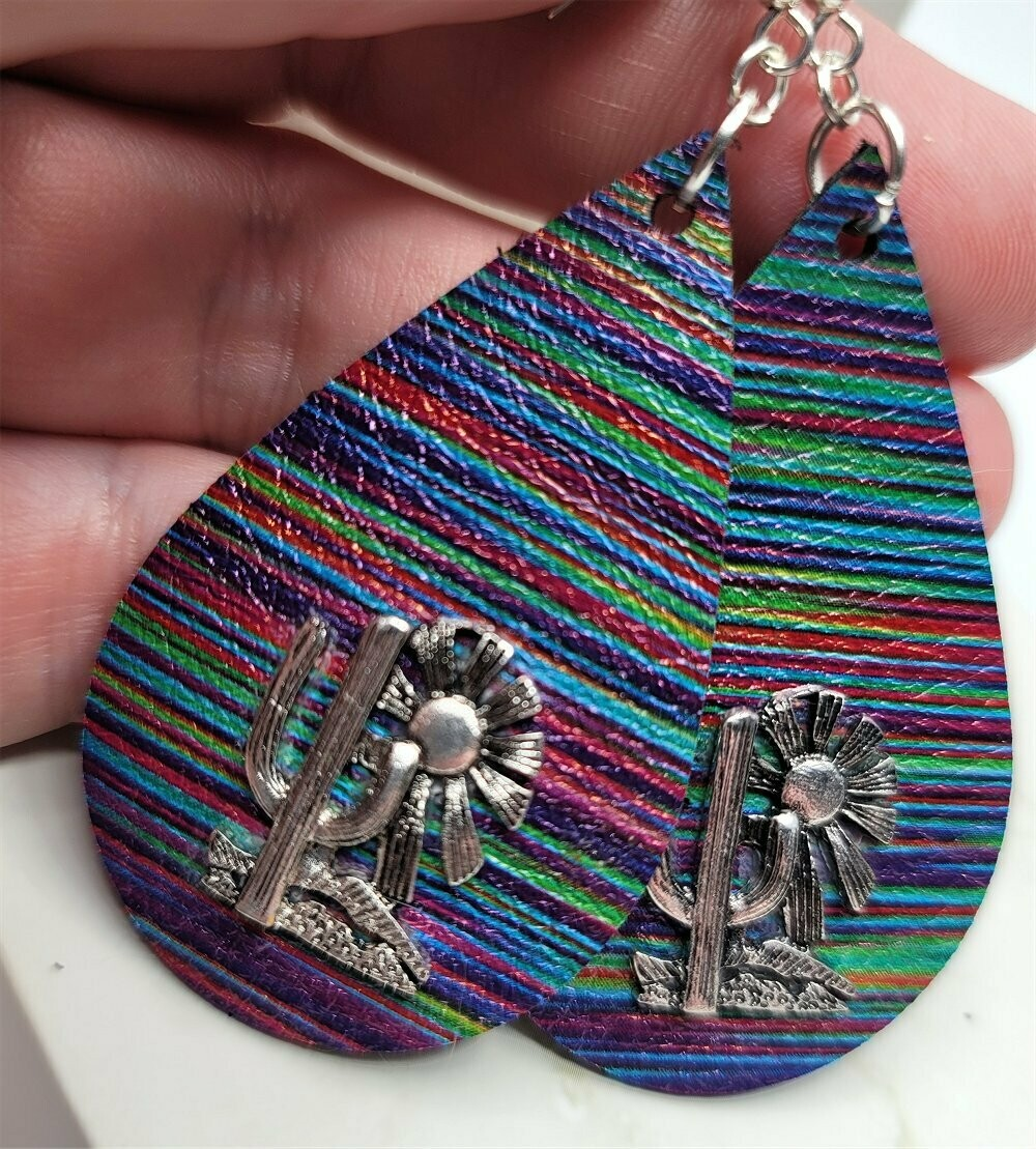 Brightly Striped Real Leather Earrings with a Cactus Charm