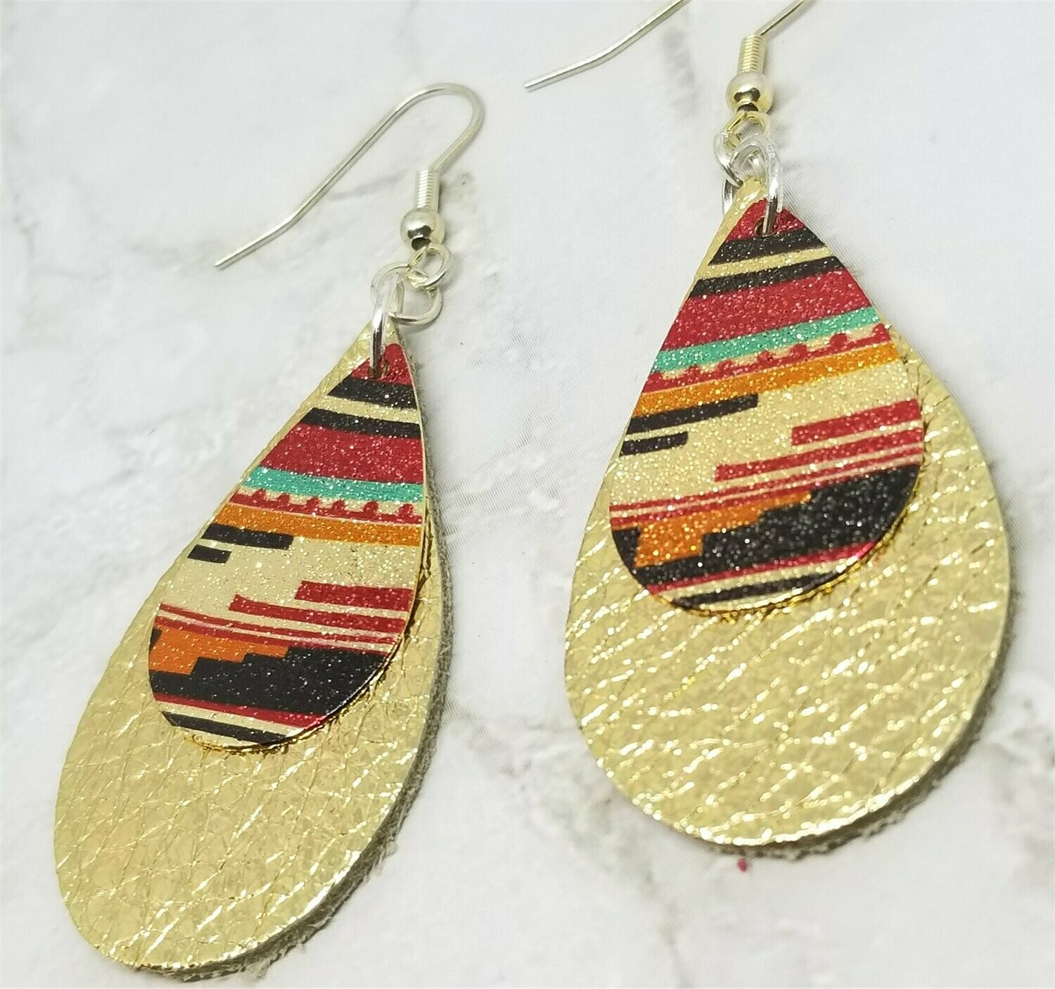 Metallic Gold Tear Drop Shaped Real Leather Earrings with Southwestern Themed Charm Overlay