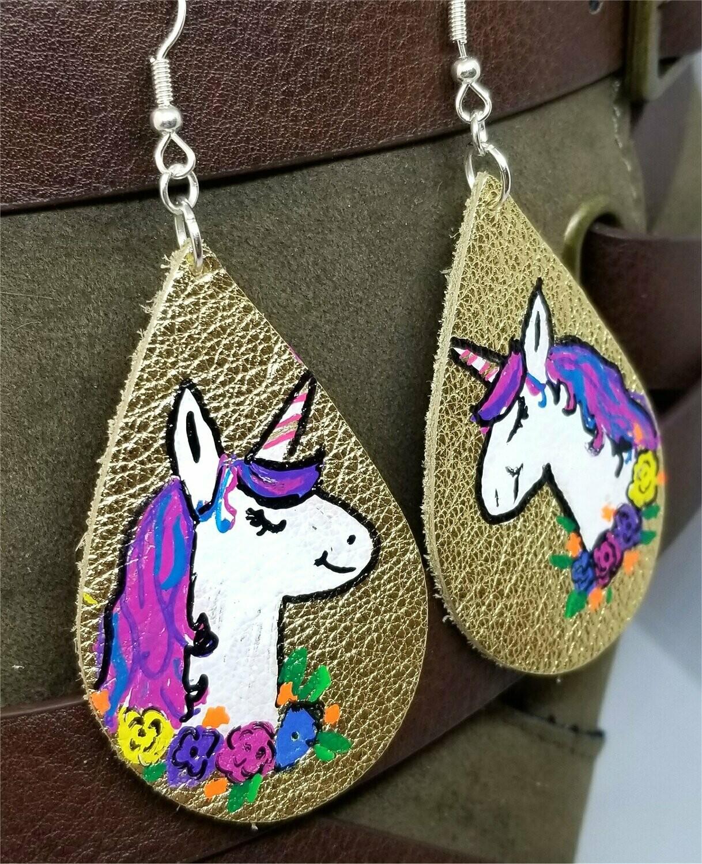 Metallic Gold Teardrop Earrings with a Hand Painted Unicorn OOAK