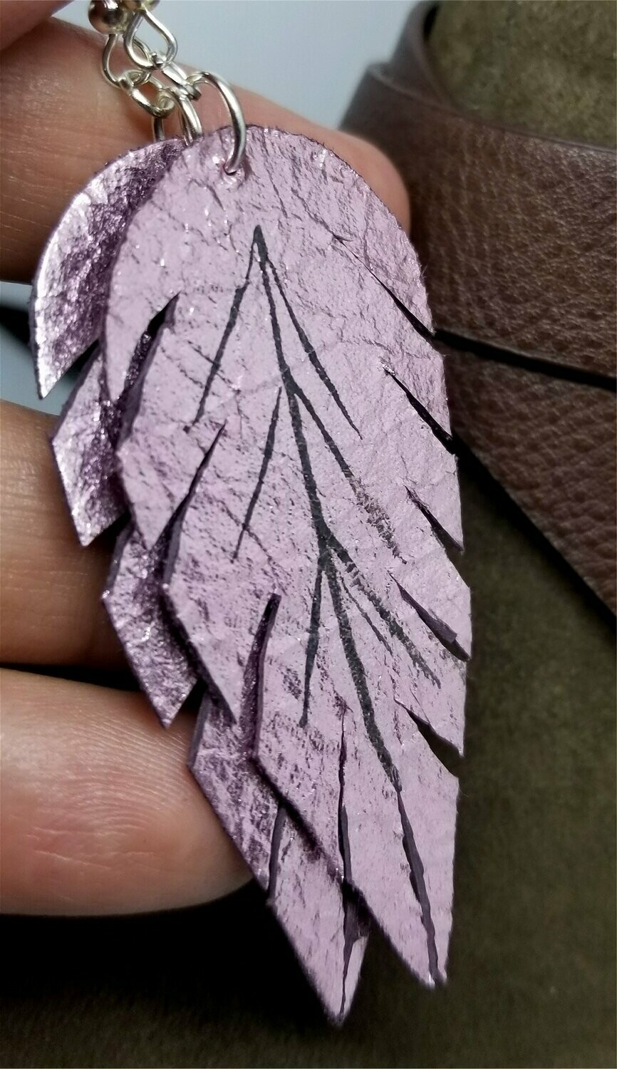 Metallic Pink Feathered Real Leather Earrings