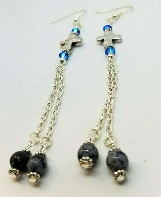 Dangle Cross Earrings with Swarovski Crystals and Bead Dangles