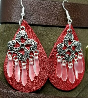 Metallic Red Real Leather Earrings with Silver Chandelier with Glass Bead Dangles