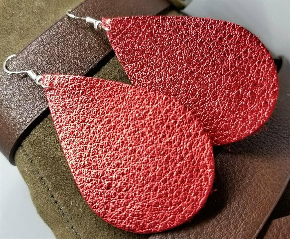 Metallic Red Tear Drop Shaped Real Leather Earrings