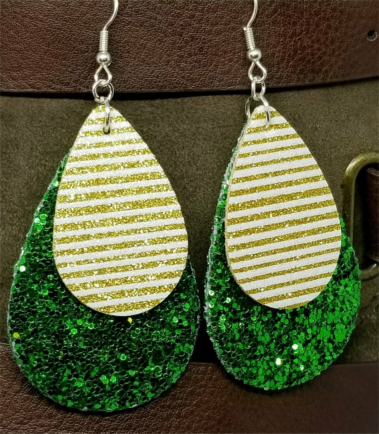 Chunky Green Glitter Very Sparkly Double Sided FAUX Leather Teardrops with Metallic Gold Striped FAUX Leather Teardrop Overlay Earrings