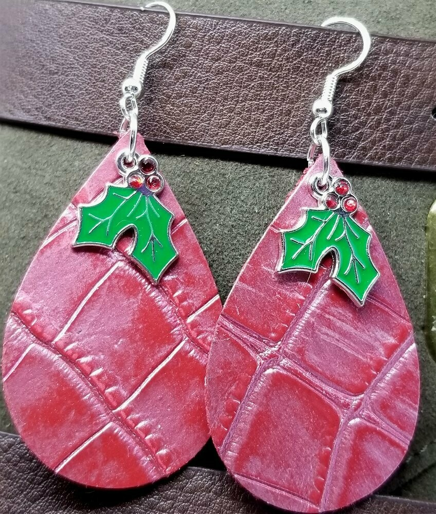 Red Embossed Tear Drop Shaped Leather Earrings with Holly Charm Overlay