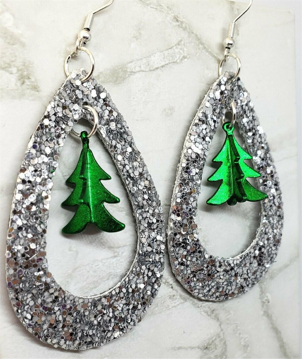 Silver Glitter FAUX Leather Cut Out Teardrop Earrings with Green Metal Christmas Tree Dangles