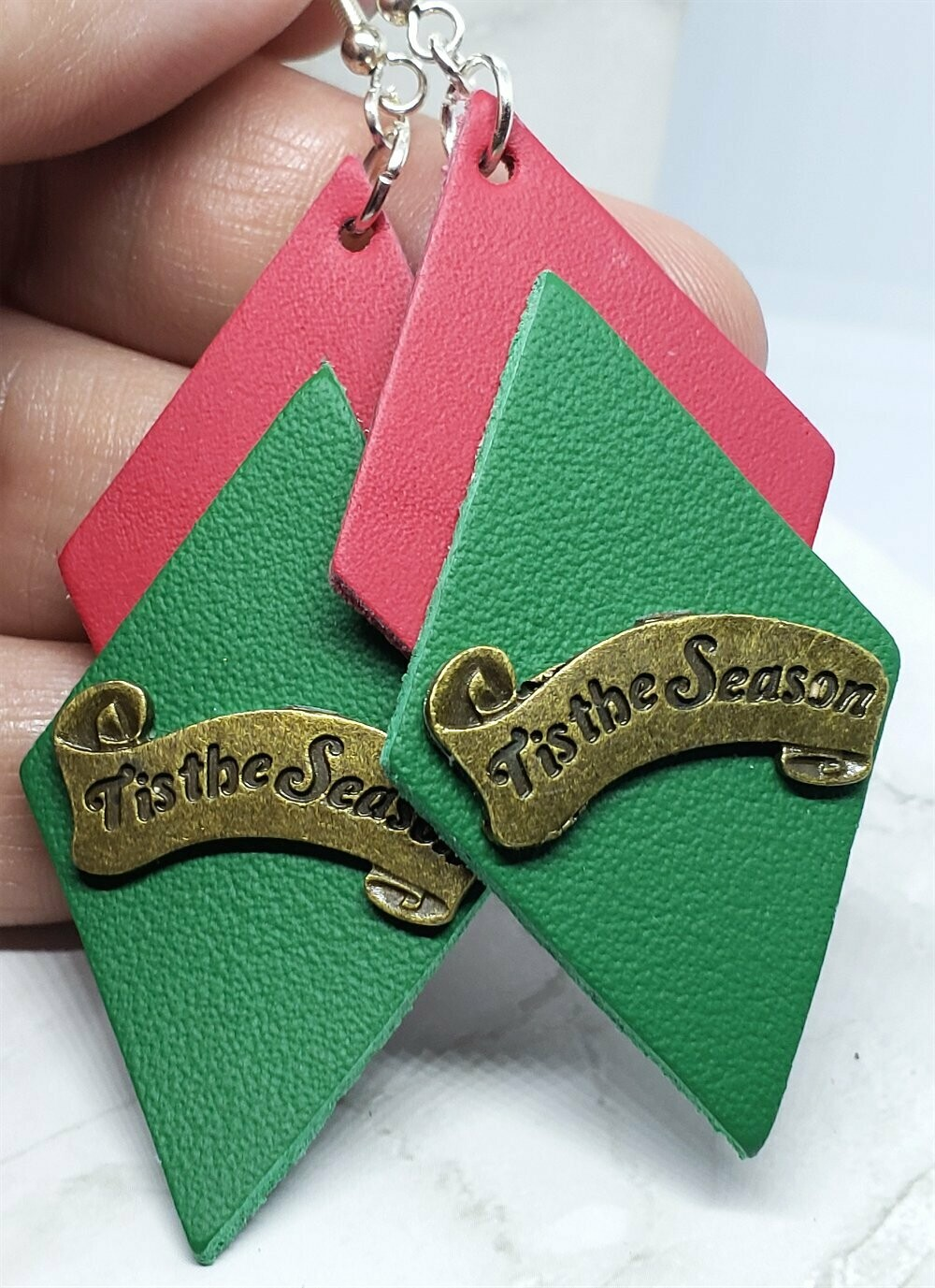 Red and Green Layered Diamond REAL Leather Earrings with Tis The Season Embellishment