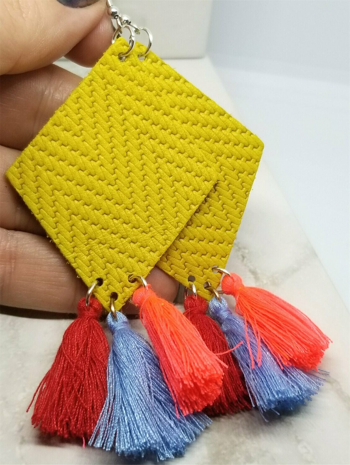 Mustard Yellow Diamond Shaped Real Leather Earrings with String Tassels