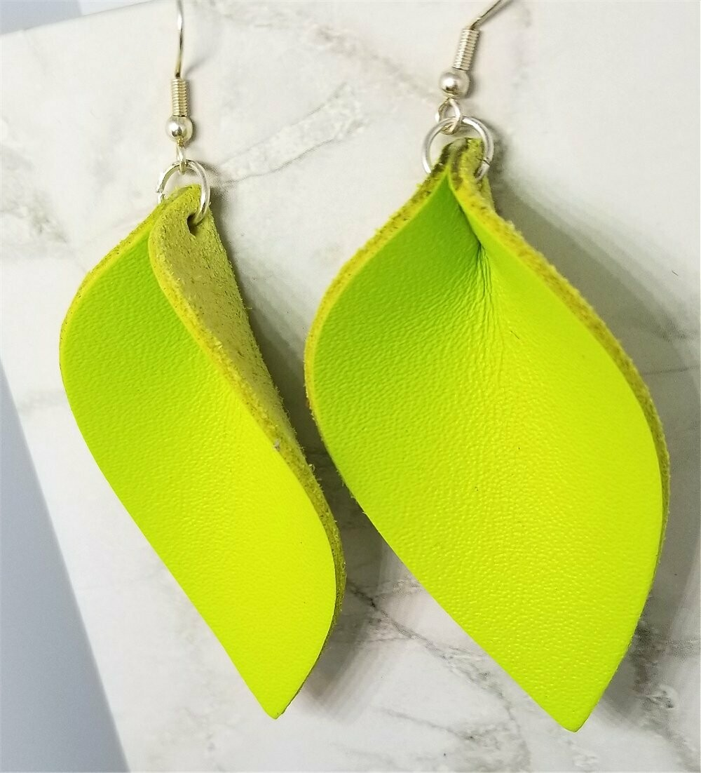 Neon Green Leather Leaf Earrings with Surgical Steel Earwires