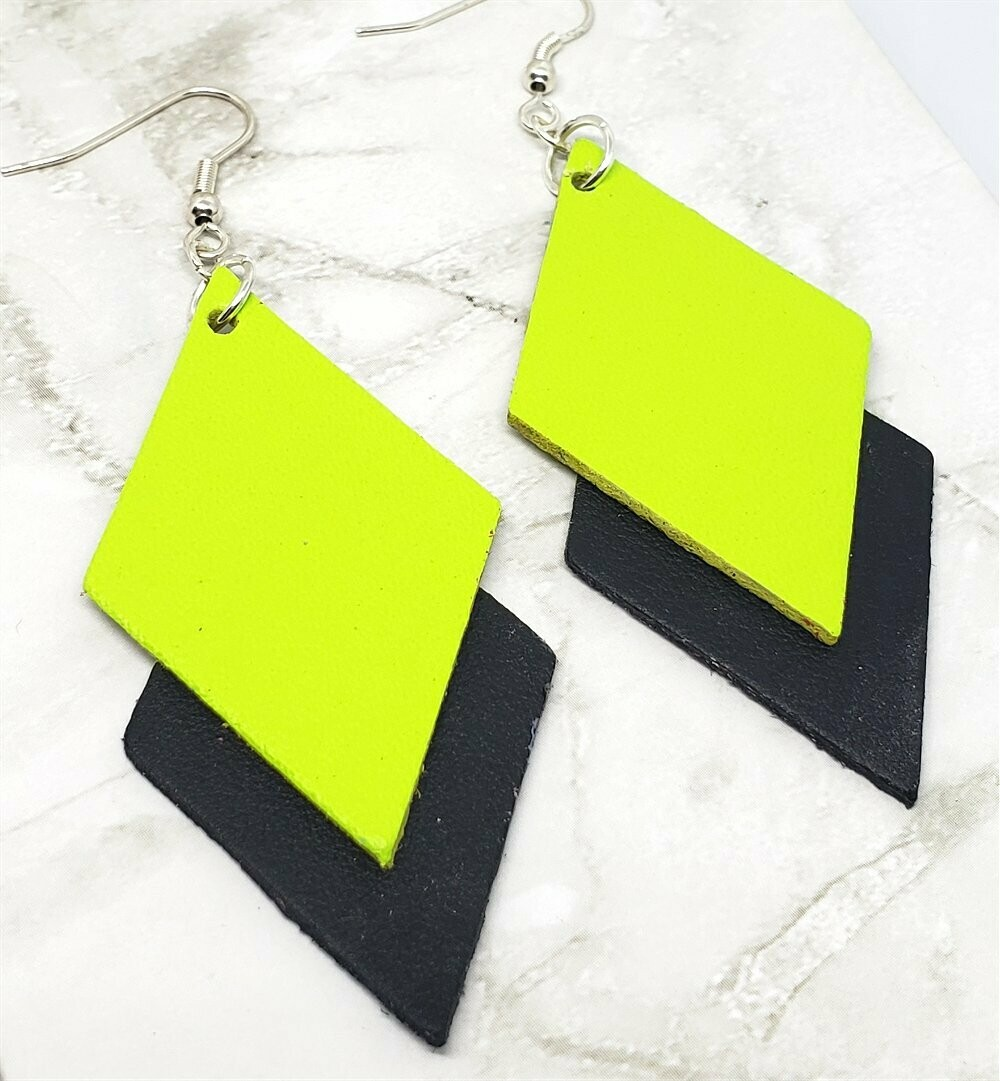 Neon Green and Black Layered Diamond REAL Leather Earrings