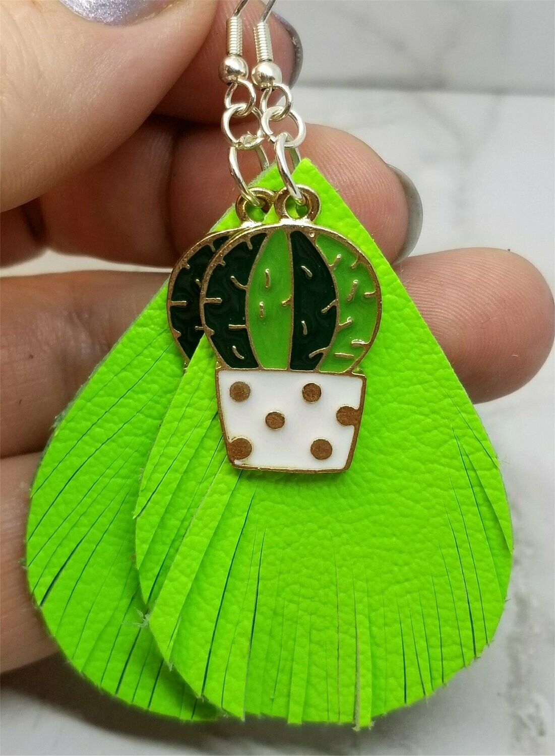 Neon Green Real Leather Fringed Earrings with a Cactus Charm Overlay