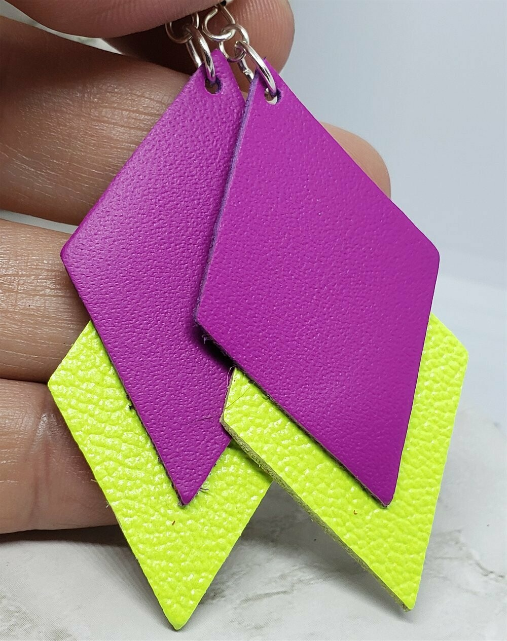 Neon Layered Diamond REAL Leather Earrings
