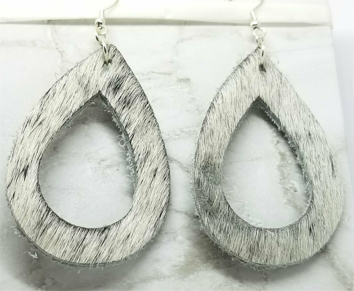 Off White Hair on Hide Real Leather Tear Drop Cut Out Earrings