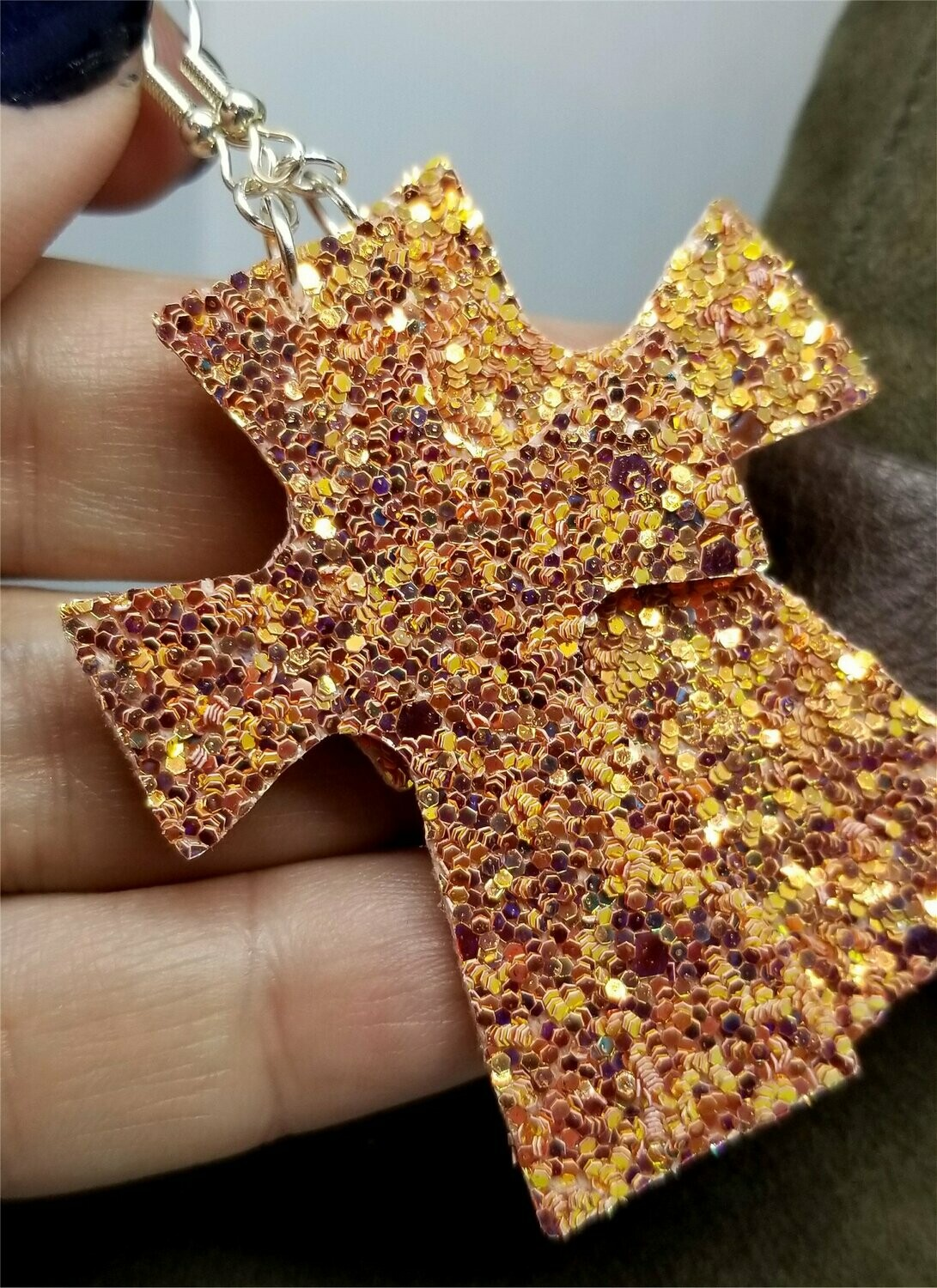 Orange Chunky Glitter Very Sparkly Double Sided FAUX Leather Cross Earrings