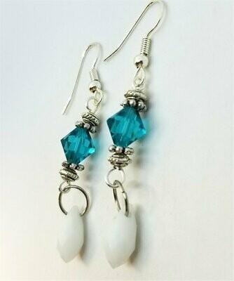 Teal and White Alabaster Swarovski Crystal Dangle Earrings