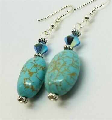 Turquoise Magnesite with Turquoise ABX2 Swarovski Crystal Drop Earrings