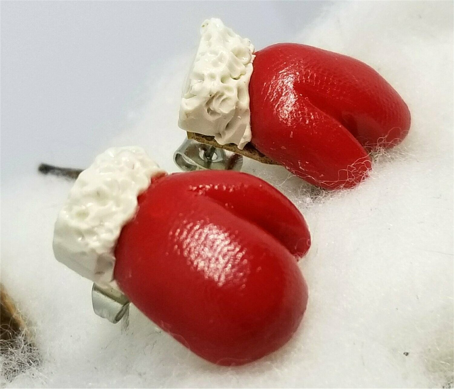 Red Santa Mittens Polymer Clay Post Earrings