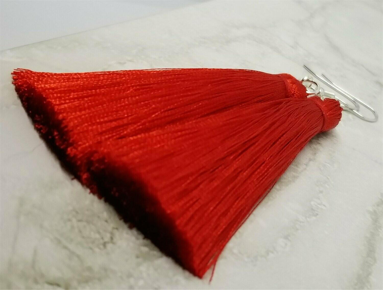 Red Silky Tassel Earrings