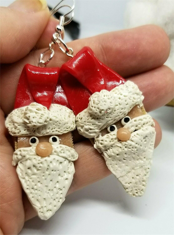 Santa Claus Polymer Clay Drop Earrings