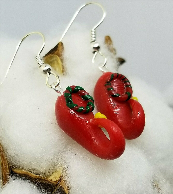 Christmas Elf Shoes Polymer Clay Dangle Earrings
