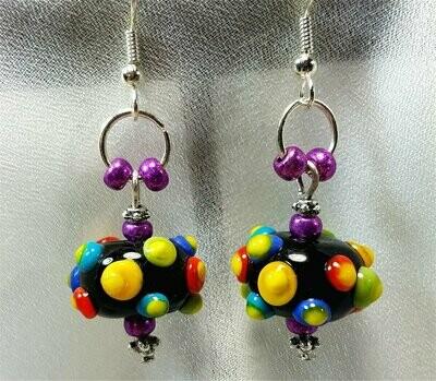 Colorful Bumpy Lampwork Style Glass Bead Earrings