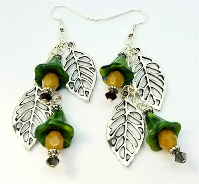 Leaf Charm and Green Bell Flower Cascading Earrings