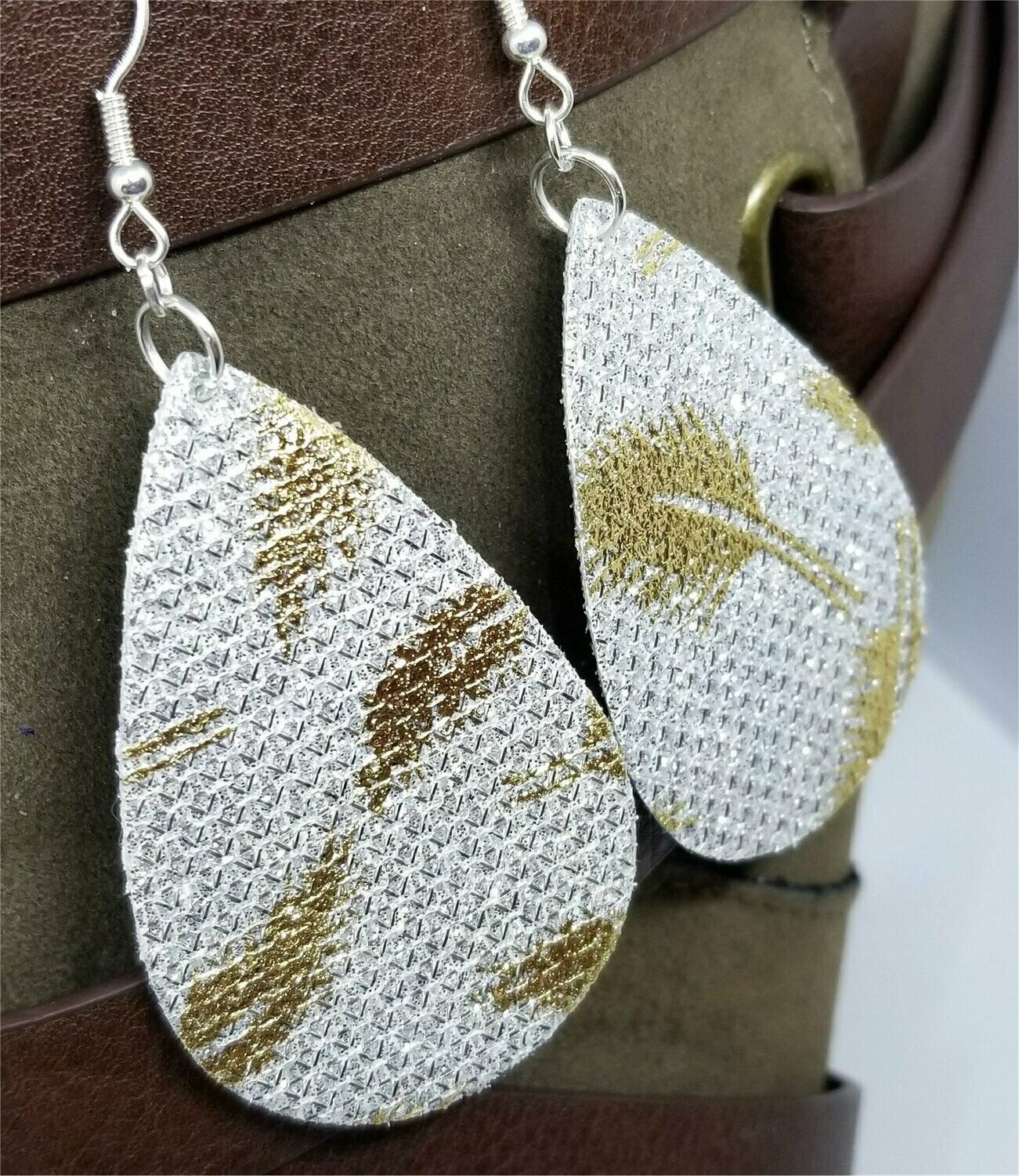 Silver Glittering FAUX Leather Teardrop Earrings with Gold Metallic Feathers Printed On Them