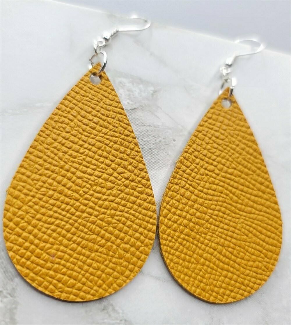 Mustard Yellow Teardrop Shaped Leather Earrings