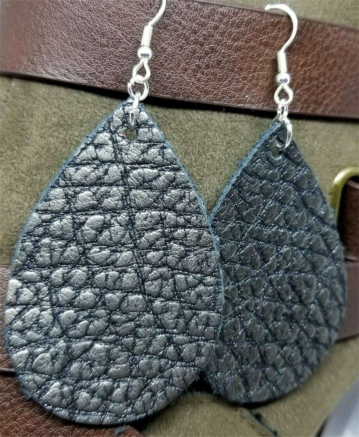 Pewter and Black Textured Teardrop Shaped Leather Earrings