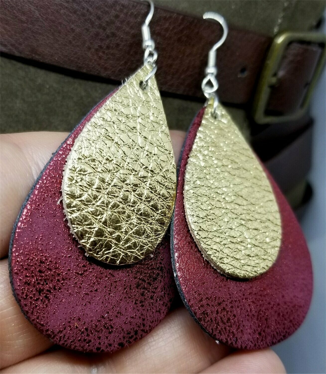 Worn Red Tear Drop Shaped FAUX Leather Earrings with Gold Metallic REAL Leather Teardrop Overlay