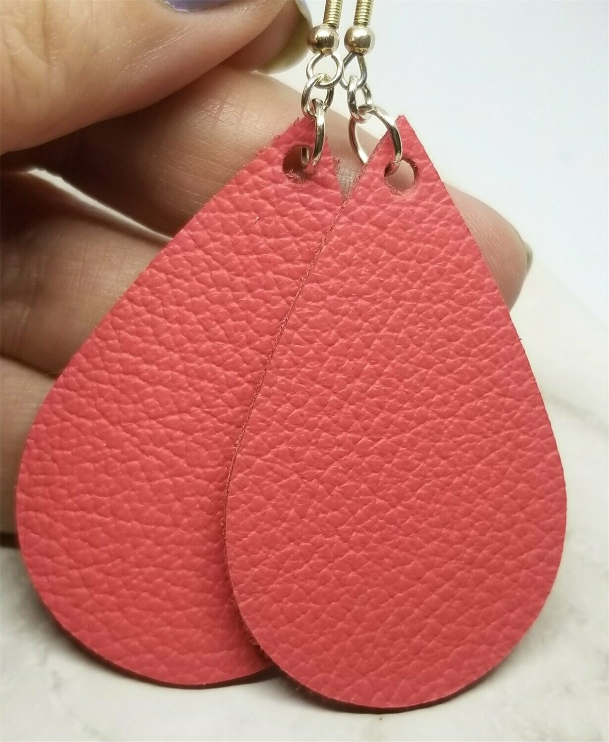 Pink Coral Tear Drop Shaped Real Leather Earrings