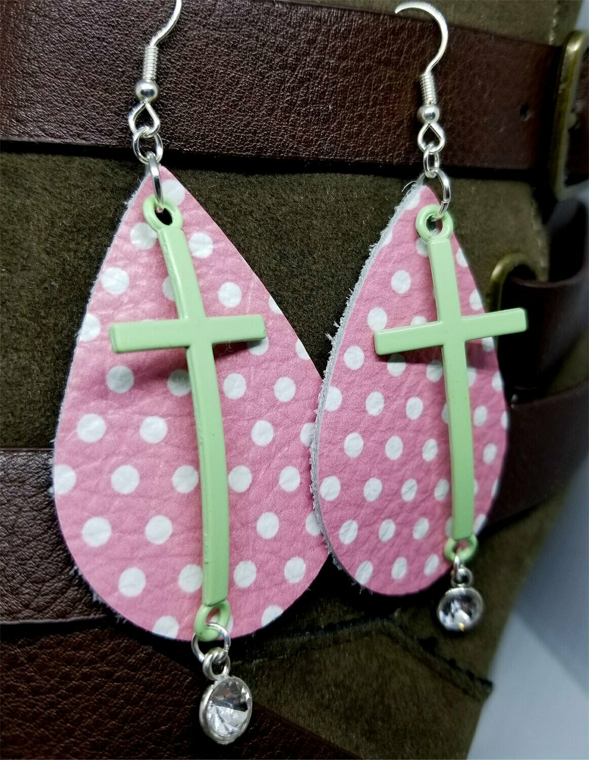 Pink with White Polka Dots Real Leather Earrings with a Pastel Green Cross and Crystal Charm Dangles
