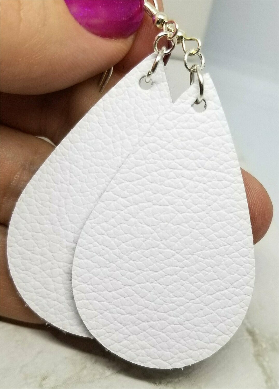 Pure White Teardrop Shaped Real Leather Earrings