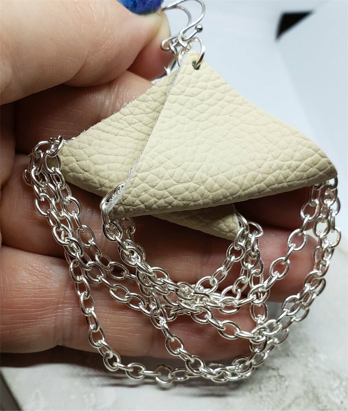 Real Leather Triangle Earrings with Chain Dangles