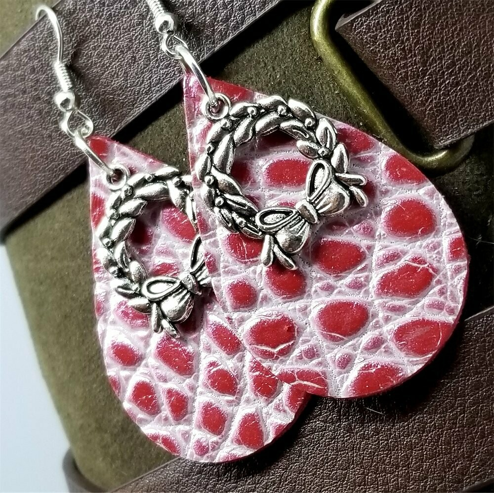 Red and White Embossed Tear Drop Shaped Leather Earrings with Christmas Wreath Charm Overlay