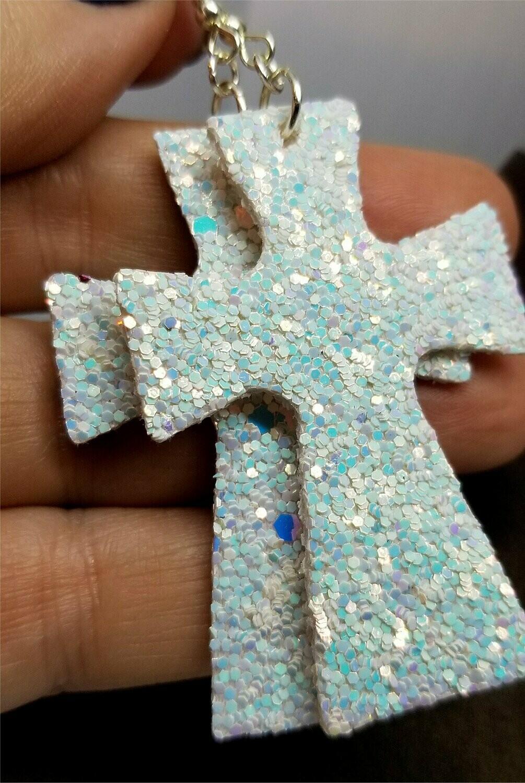 Unicorn Skin Glitter Very Sparkly Double Sided FAUX Leather Cross Earrings
