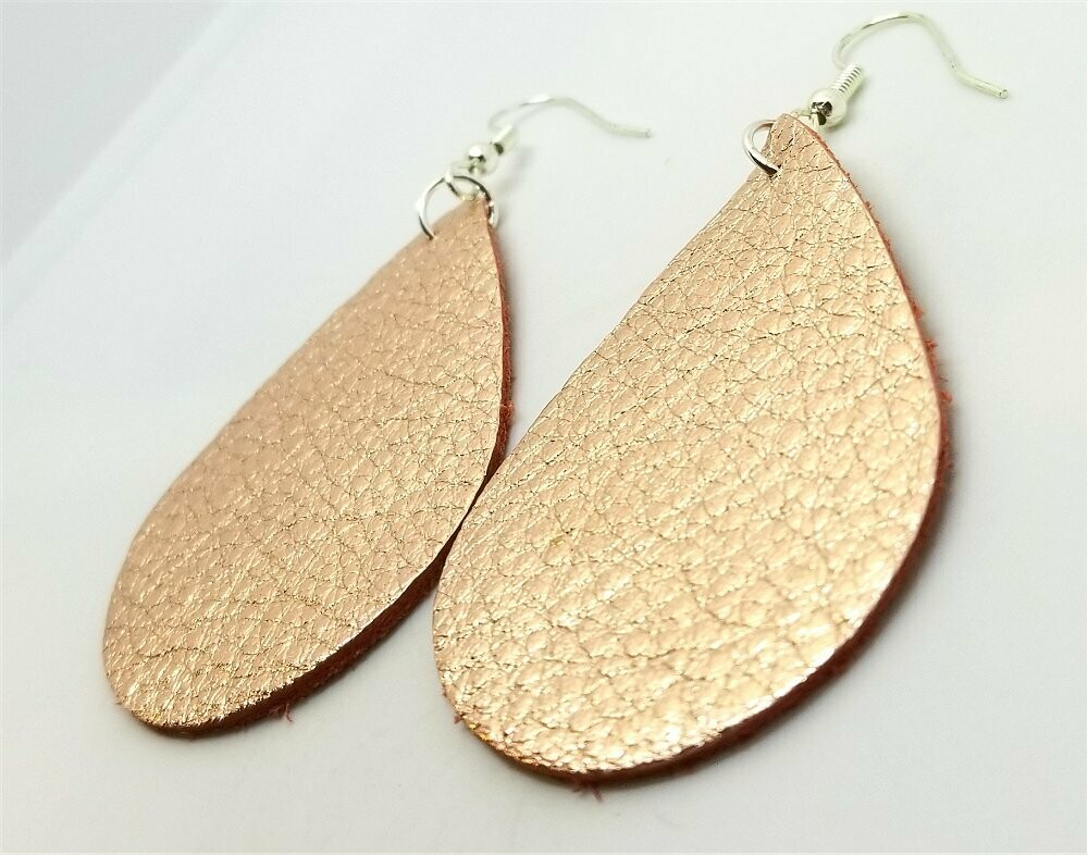 Rose Gold Finished Tear Drop Shaped Real Leather Earrings