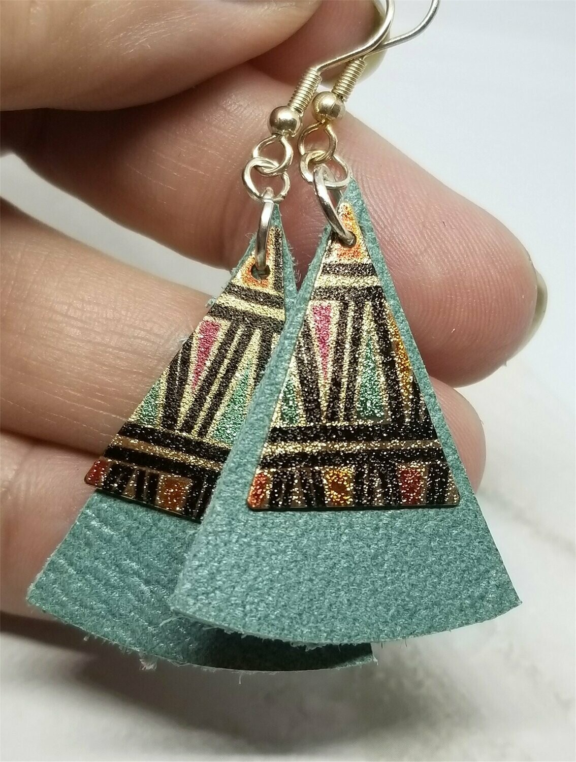 Rounded Triangle Real Leather Earrings with Metal Triangle Overlay